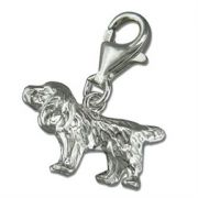 Sterling Silver clip on Spaniel Dog Charm